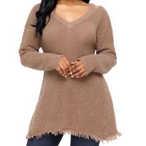 Khaki V Neck Waffle Knit Sweater